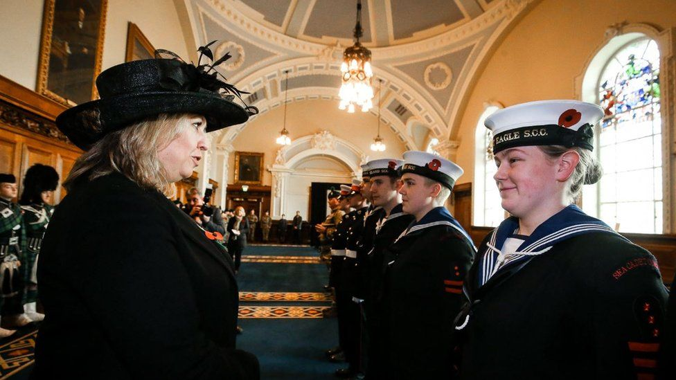 NI Secretary Karen Bradley at the Remembrance Service at Belfast City Hall on the 100th anniversary of the signing of the Armistice which marked the end of World War One.
