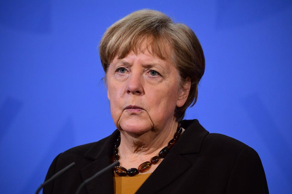 Angela Merkel during a press conference at the chancellery in Berlin, Germany, 30 March 2021