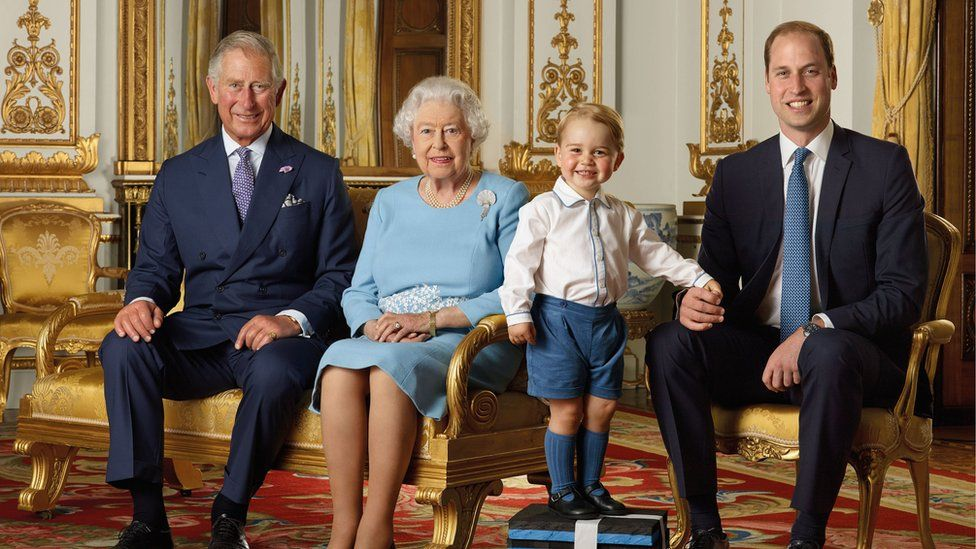 The Queen with the Prince of Wales, the Duke of Cambridge and Prince George in 2016