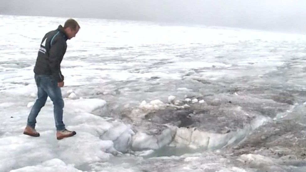 The spot where the two bodies were found in glacier