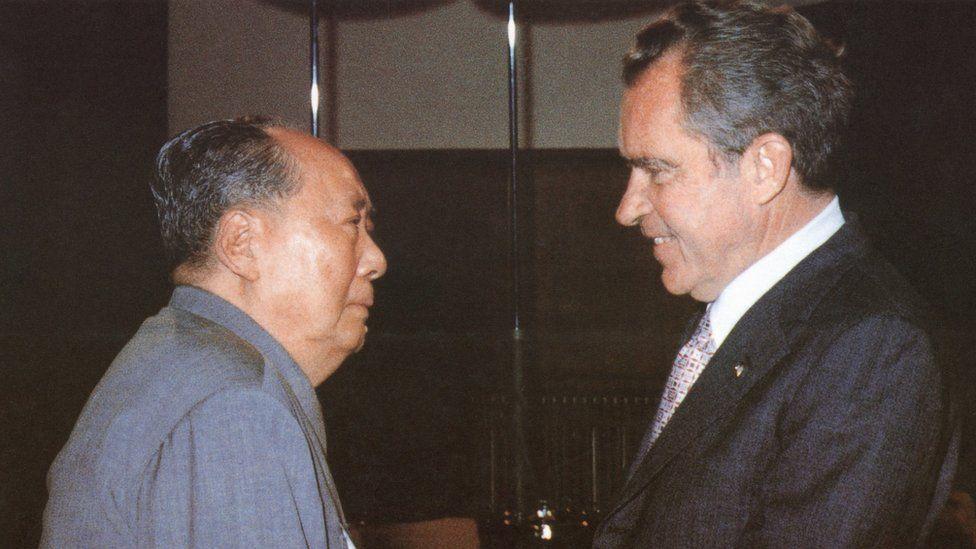 President Richard Nixon meets Chairman Mao in China in 1972