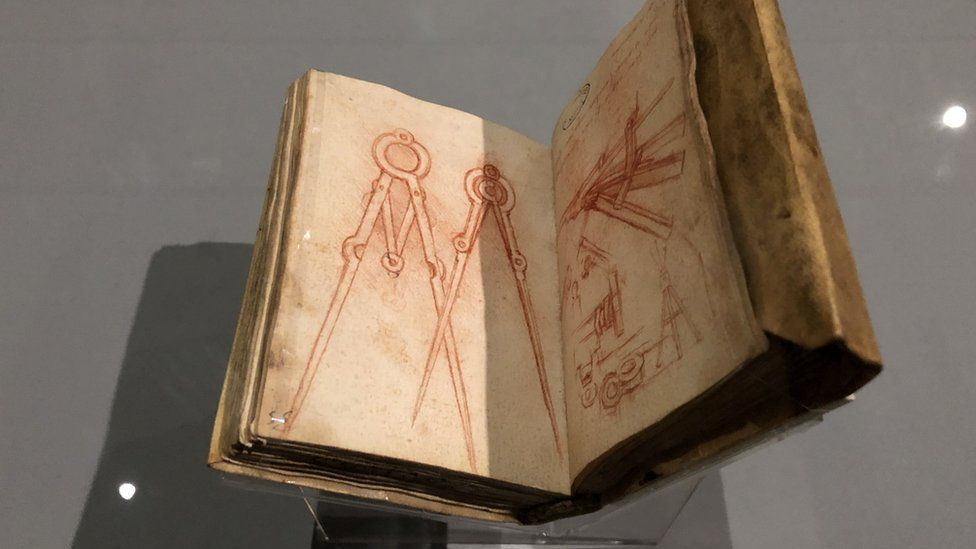 A drawing of a compass appears in one of Leonardo da Vinci's notebooks