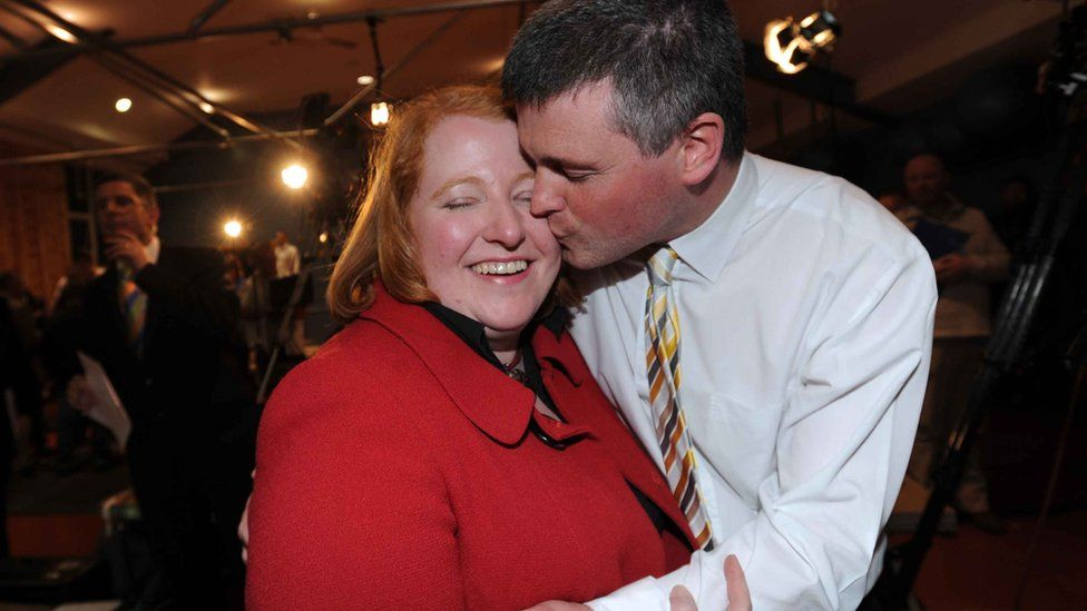 Naomi Long celebrated with her husband Michael after she became MP for East Belfast in 2010