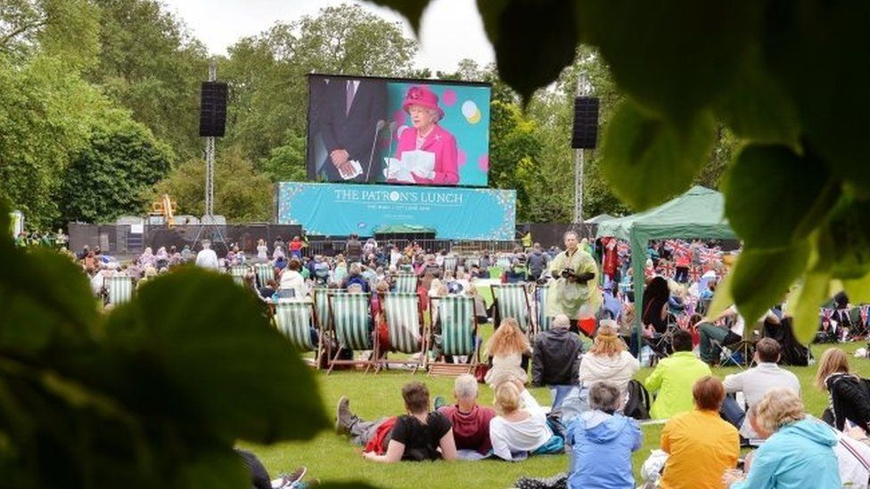 The Queen's speech was shown on a big screen in nearby St James' Park
