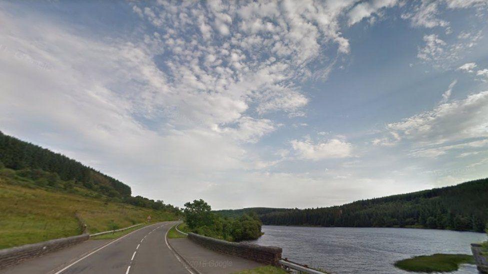 Cantref Reservoir and A470, near Nant Ddu, Powys