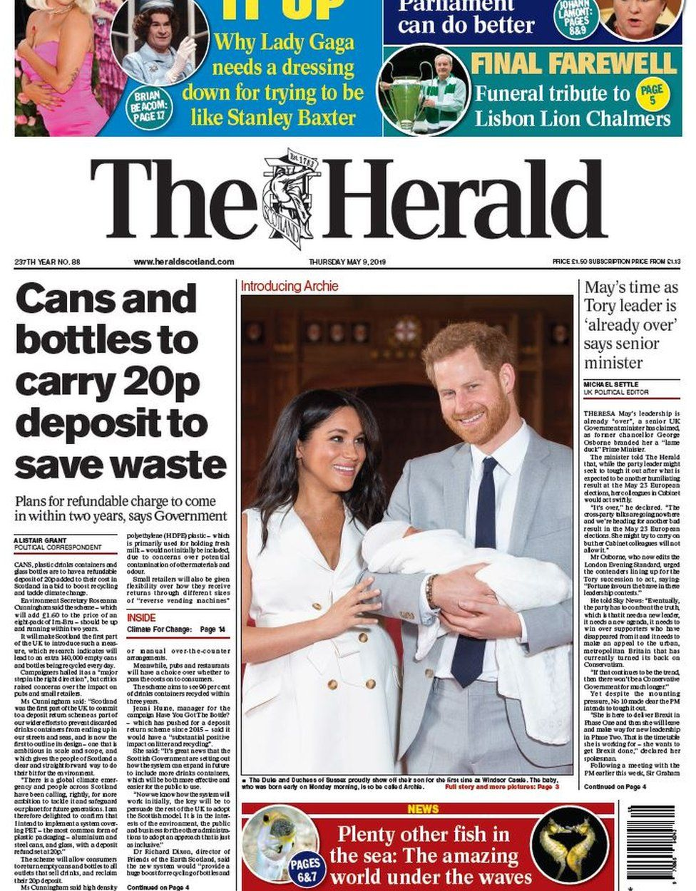 Scottish papers: 20p bottle deposit and 'adorable' Archie - BBC News