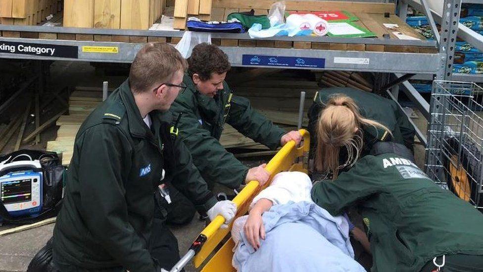 Samantha Jones and paramedics