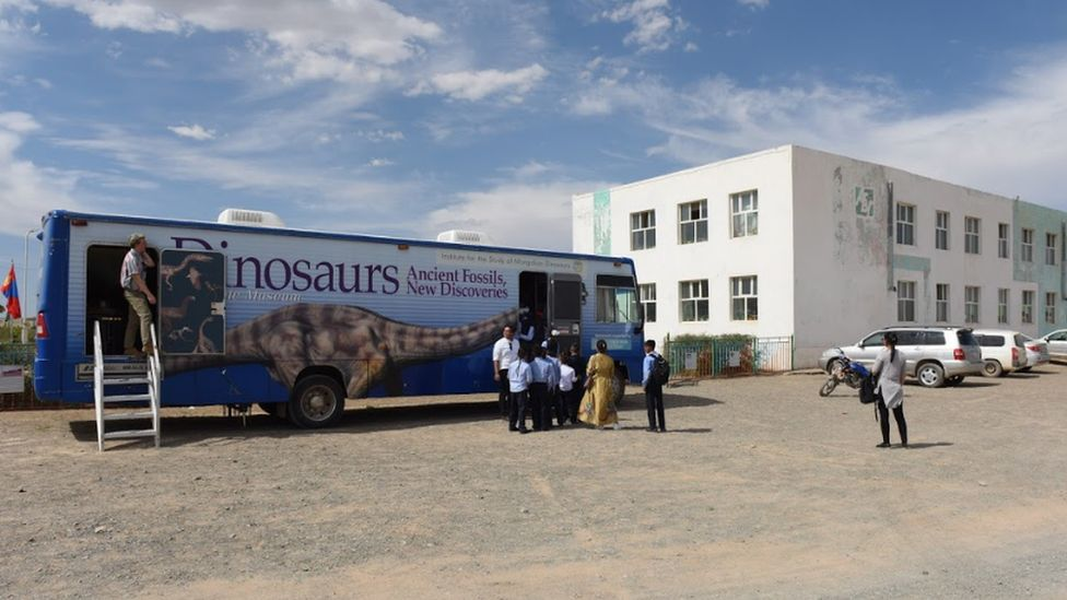 The mobile museum of dinosaurs in the town of Bulgan