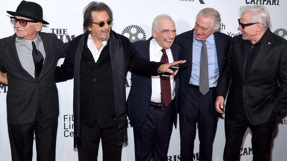 "Joe Pesci, Al Pacino, Martin Scorsese, Robert De Niro, and Harvey Keitel attending the world premiere of ""The Irishman"" in New York"