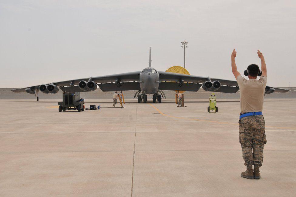 A US air force B-52 Stratofortress bomber arrives at Al Udeid Air Base, Qatar, 9 April 2016