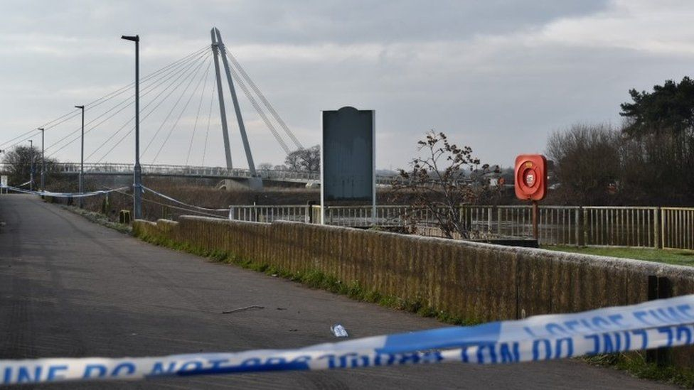 Police tape at Diglis footbridge