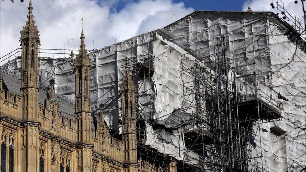 Houses of Parliament during repair work