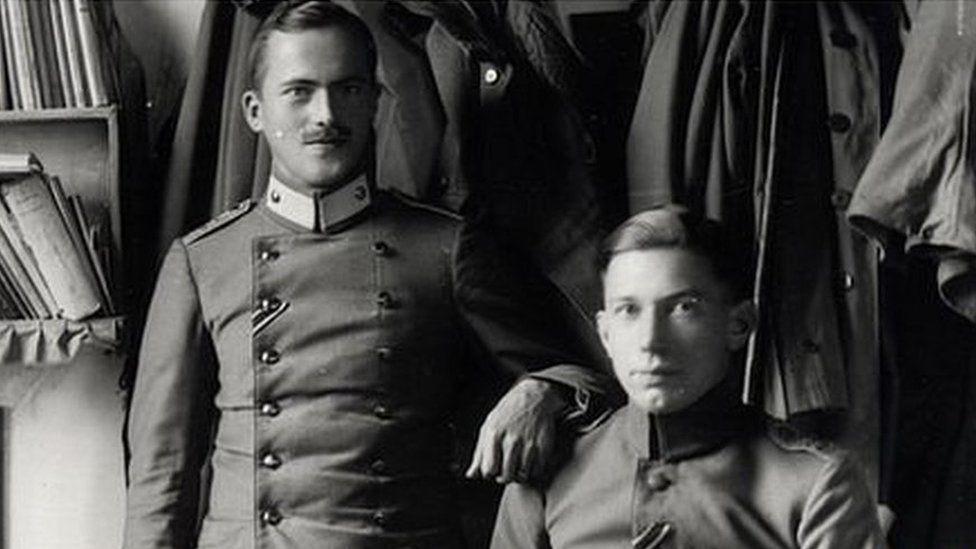 German officers in their room