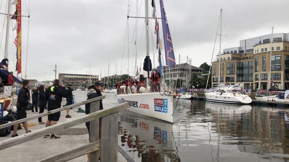 Yacht coming into the marina.