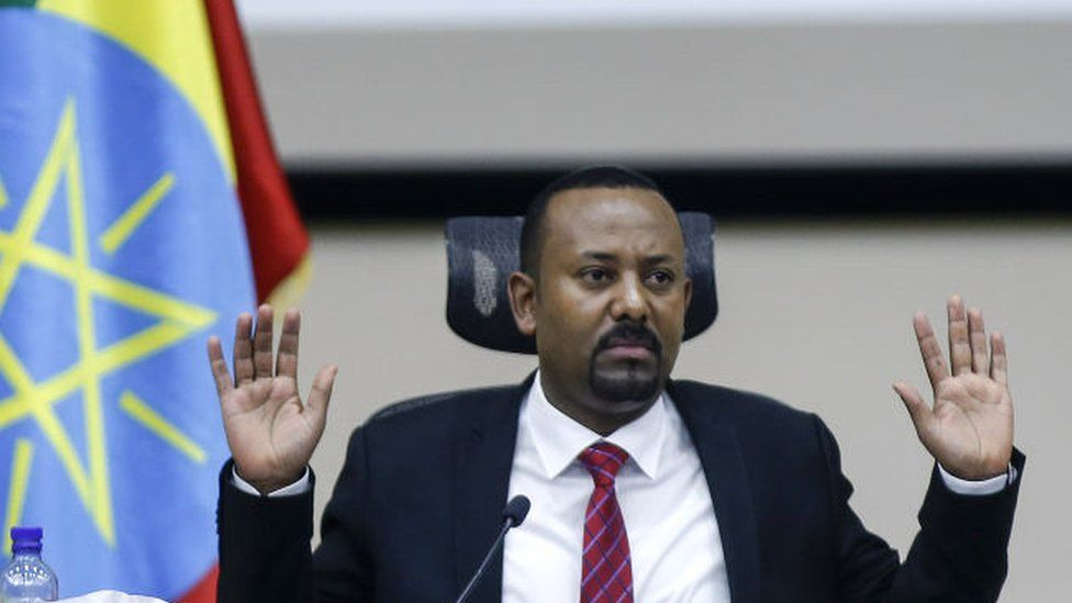 Ethiopian PM Abiy Ahmed speaking to parliament in November 2020
