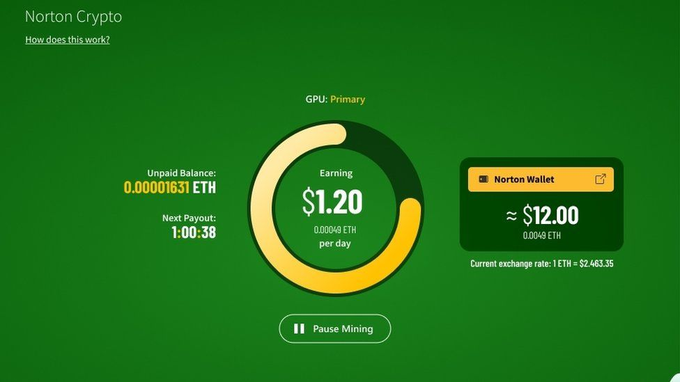 A screenshot of Norton Crypto showing earnings and unpaid Ethereum balance, along with the balance of a crypto wallet