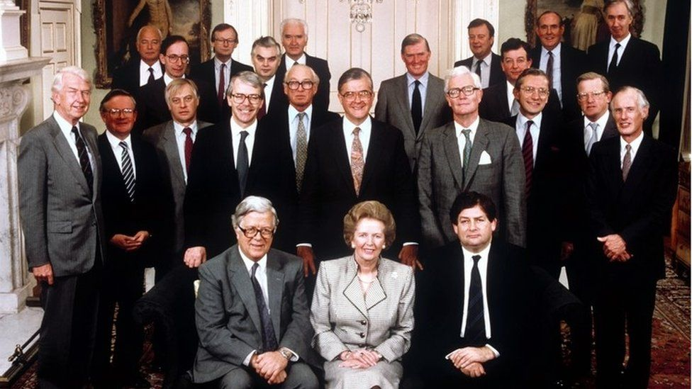 Margaret Thatcher with her cabinet on 13 October 1989