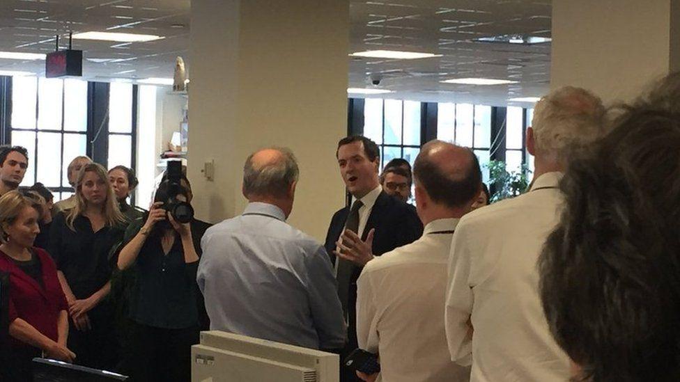 George Osborne speaks to Standard journalists