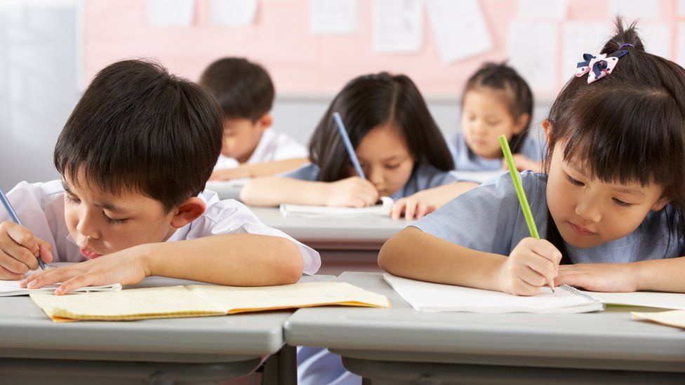 Chinese children studying