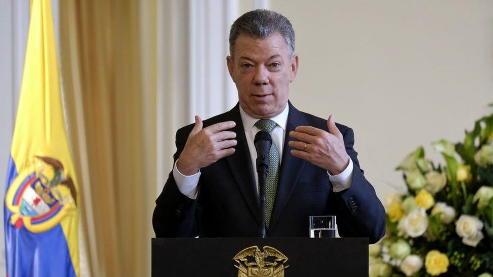 Colombia's outgoing president, Juan Manuel Santos, giving a speech in August 2018