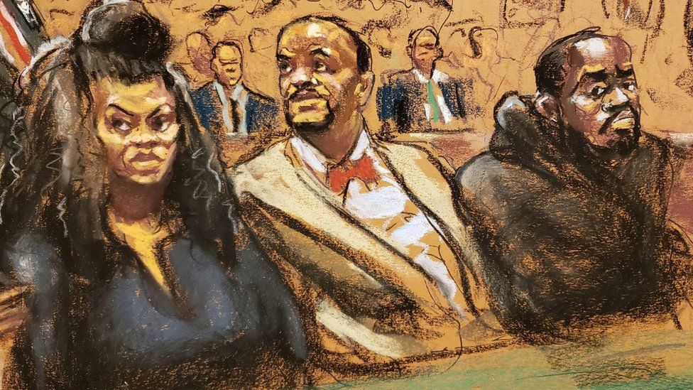 Courtroom sketch shows Tova Noel sitting beside lawyer Montell Figgins and co-defendant Michael Thomas on 19 November 2019