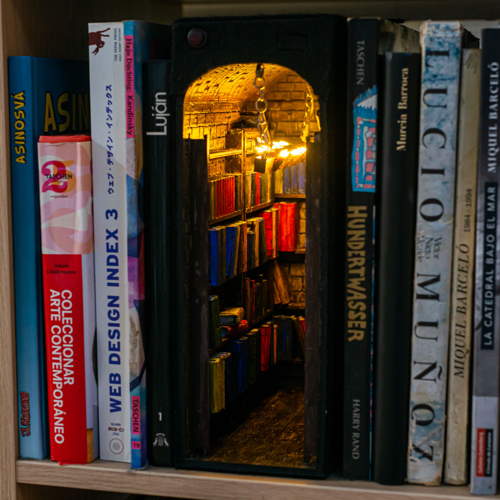 A book nook. It is a bookcase model with a light