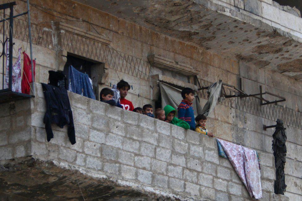 Children in western Aleppo, 16 December
