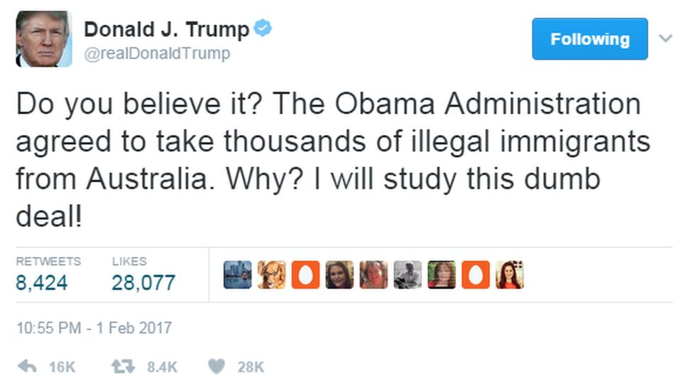 """@realDonaldTrump tweets: """"Do you believe it? The Obama Administration agreed to take thousands of illegal immigrants from Australia, Why?"""" I will study this dumb deal."""""""