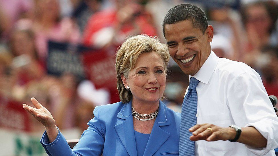 Hillary Clinton endorses Barack Obama in 2008.