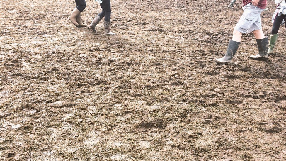 Wellies in the mud