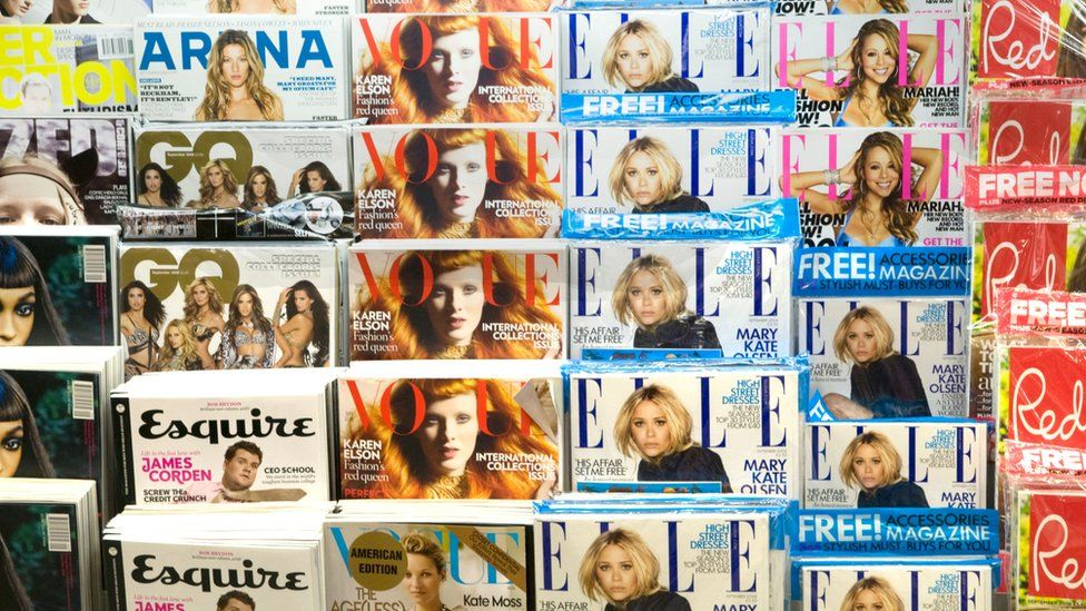 Magazine rack in a newsagent