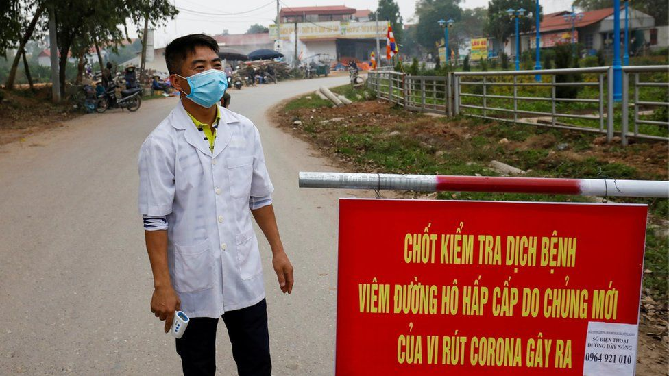 checkpoint in Son Loi north of Hanoi, Vietnam