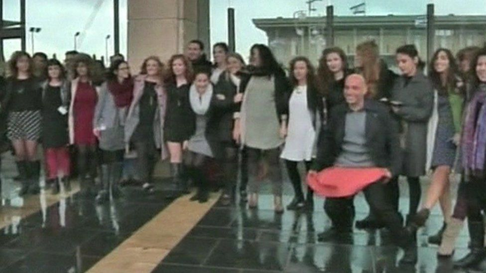 Protest by Knesset staffers over ban on short skirts