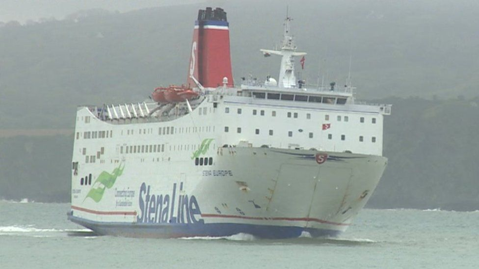The Stena Line ferry sailing into Fishguard