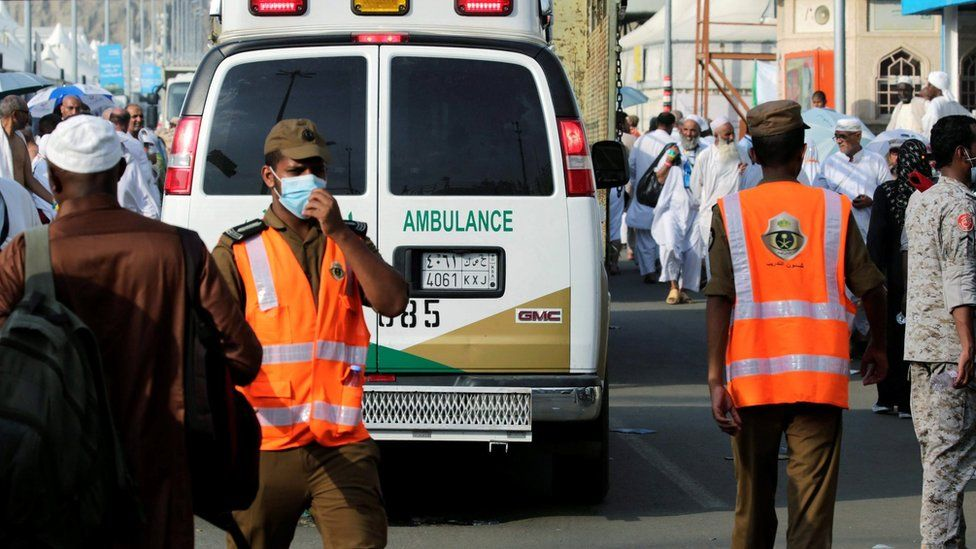Medics and an ambulance in Mina, Saudi Arabia