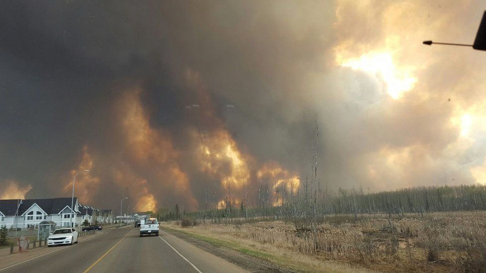 Blaze outside Fort McMurray on 3 May 2016