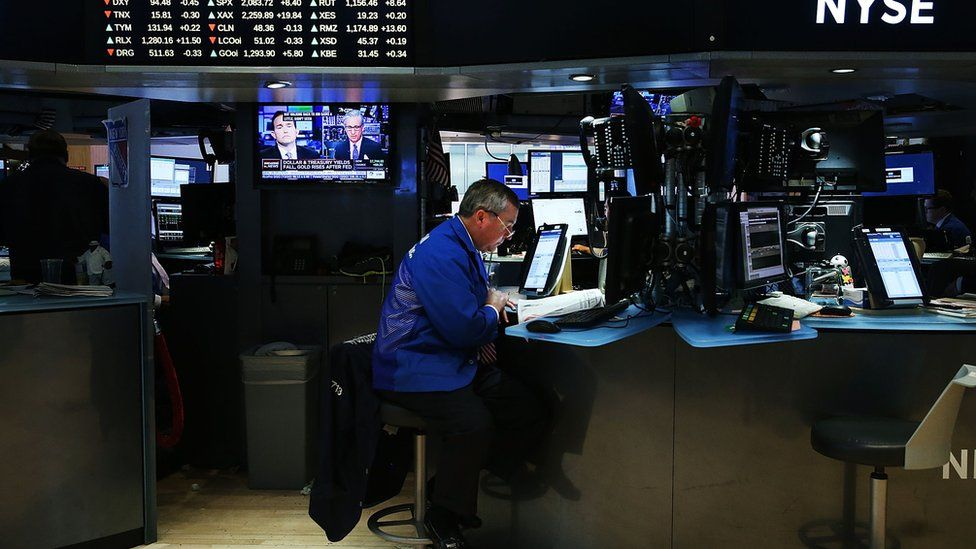 Nearly all stock trading is done by or over computers