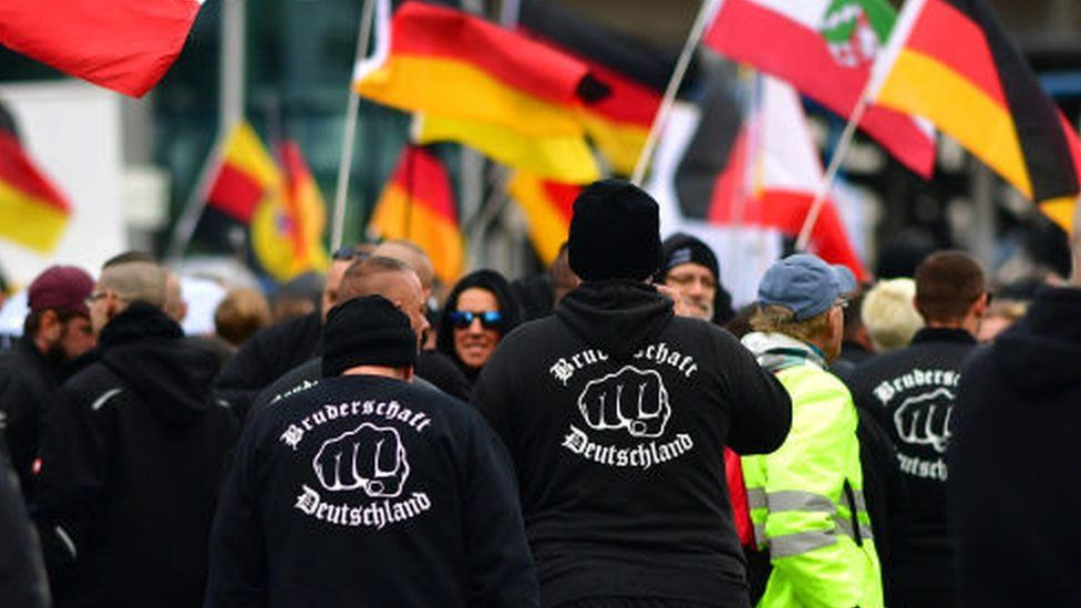 Members of the far-right Bruderschaft Deutschland seen at a protest in Berlin, October 2019