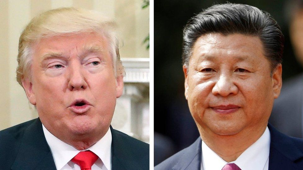 President Donald Trump, left, and China's President Xi Jinping