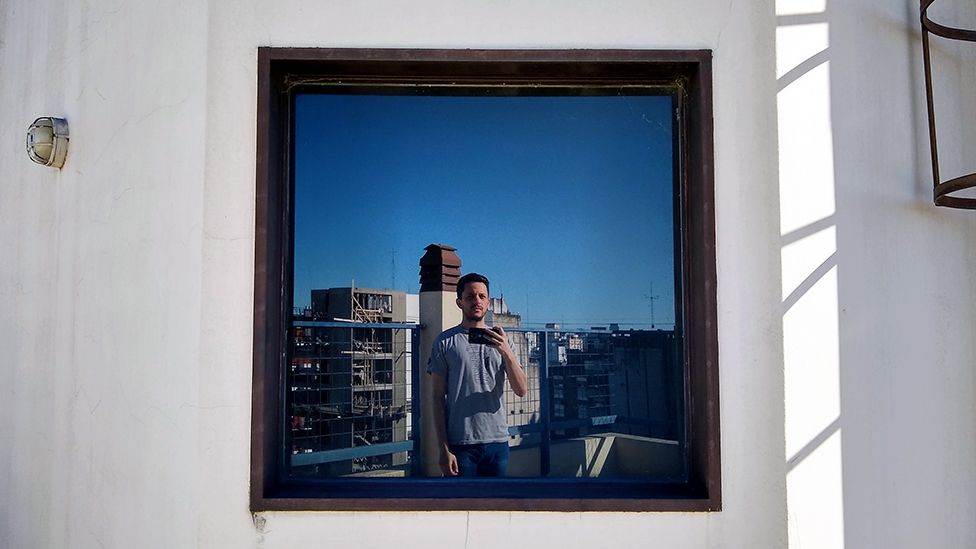 A photo on his wall