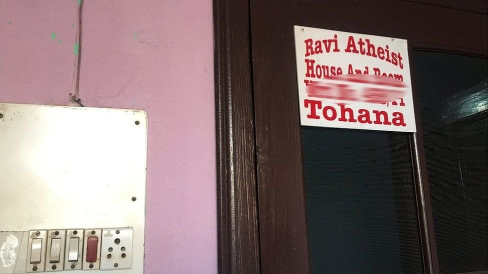 The name plate at Ravi Atheist's house