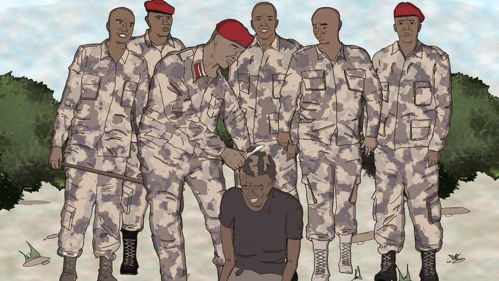 sketch of soldiers shaving off an afro