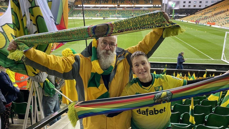 Supporter with a commemoration scarf