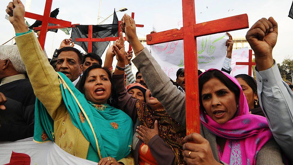 Members of the Pakistan Christian Democratic alliance march during a protest in Lahore in support of Asia Bibi. File photo