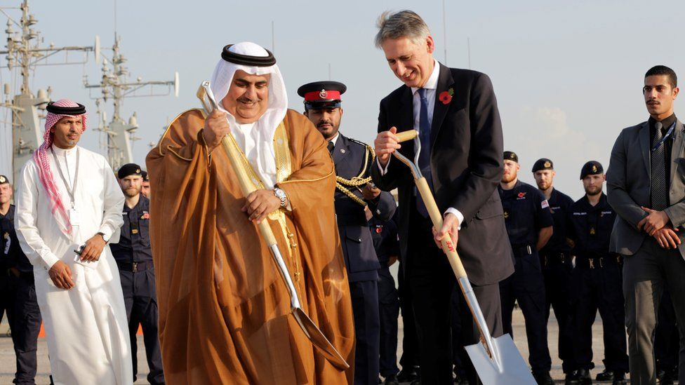 Philip Hammond and Bahraini Foreign Minister Sheik Khalid bin Ahmed Al Khalifa laid the first cornerstone of the new base