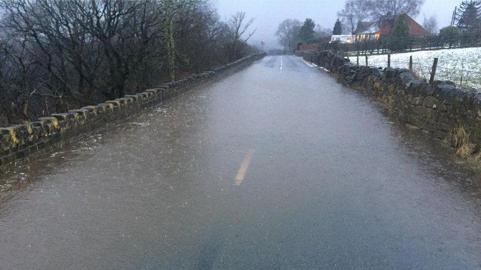 Flooded street near Hebden Bridge