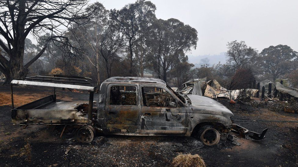 A woodchip mill burnt by bushfires in Quaama in Australia's New South Wales