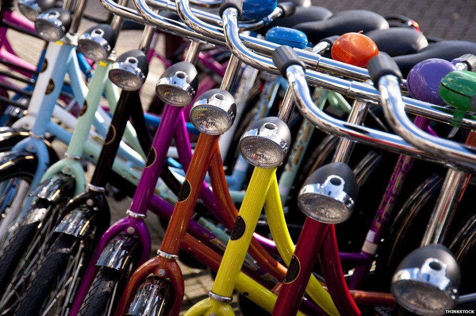 Colourful bikes parked in the Netherlands