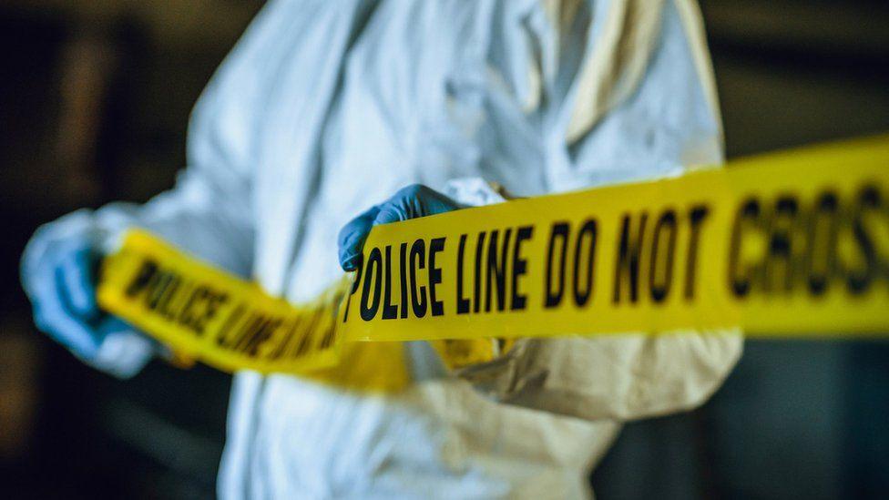 Police line tape. Crime scene investigation. Forensic science