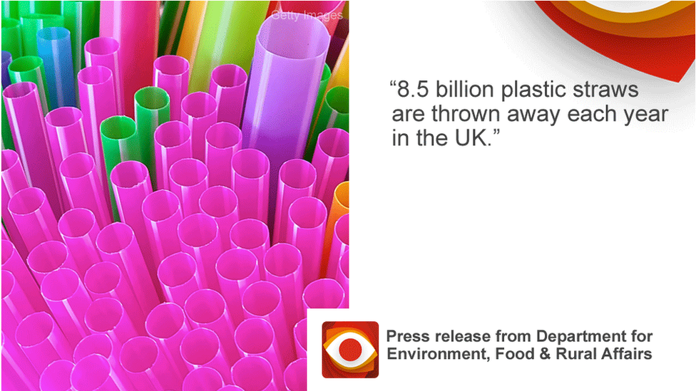Quote from Defra press release: 8.5 billion plastic straws are thrown away each year in the UK.